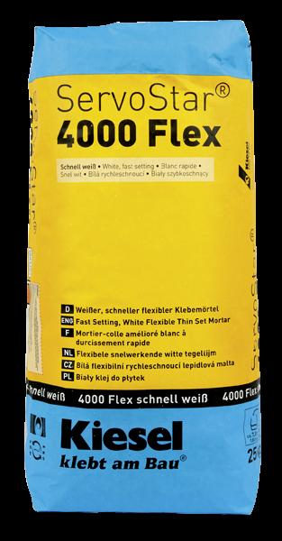 Fliesenkleber für Wandfliesen und Bodenfliesen von Kiesel ServoStar 4000 Flex schnell weiß
