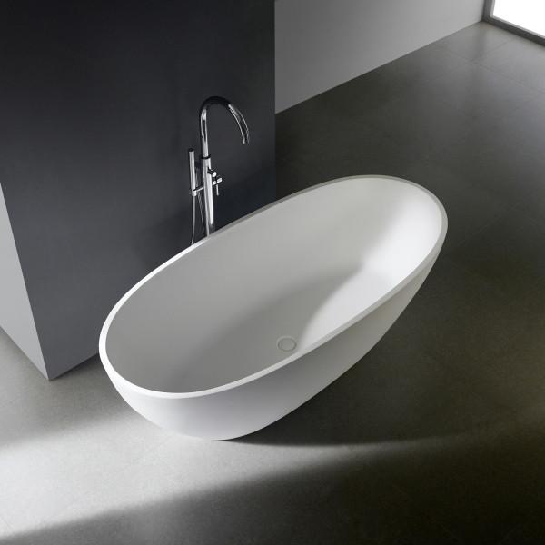 Ovale freistehende Badewanne aus Mineralguss / Solid Stone PG11778 ( 170x78cm )