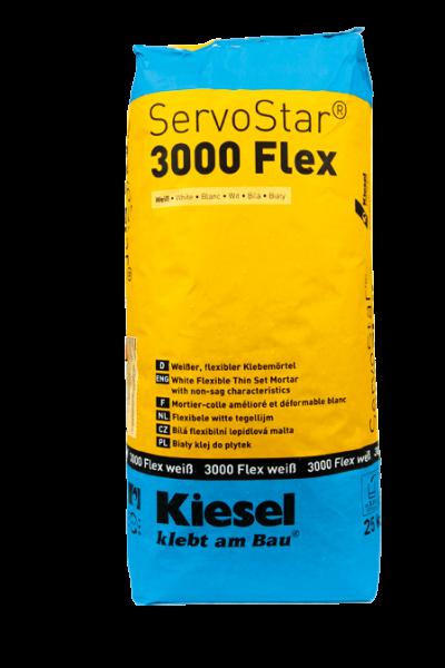 Fliesenkleber für Wandfliesen und Bodenfliesen von Kiesel ServoStar 3000 Flex weiß