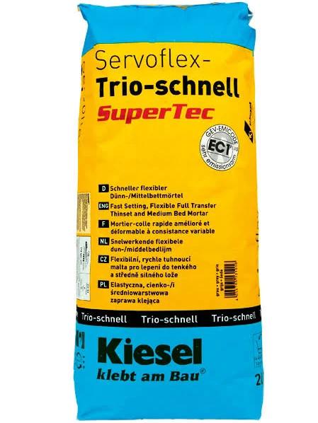 Fliesenkleber für Wandfliesen und Bodenfliesen von Kiesel Servoflex-Trio-schnell SuperTec 20Kg